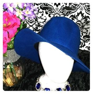 Accessories - Royal blue panama/fedora style wool hat